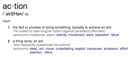 screenshot of definition of Action