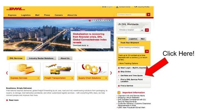 screenshot of DHL shipping rate quote