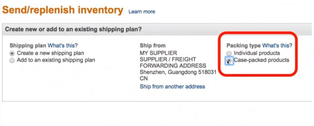 Creating Amazon FBA Shipping Plan - Declaring Type of Packaging