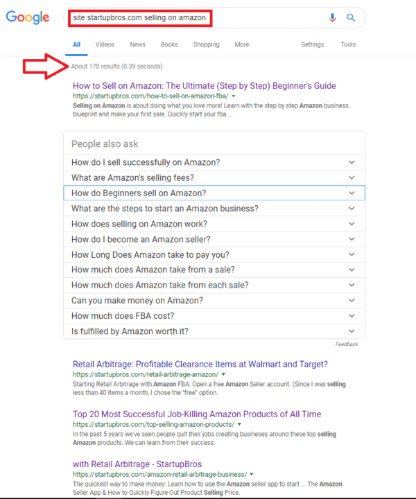 performing a site search on google for a specific keyword