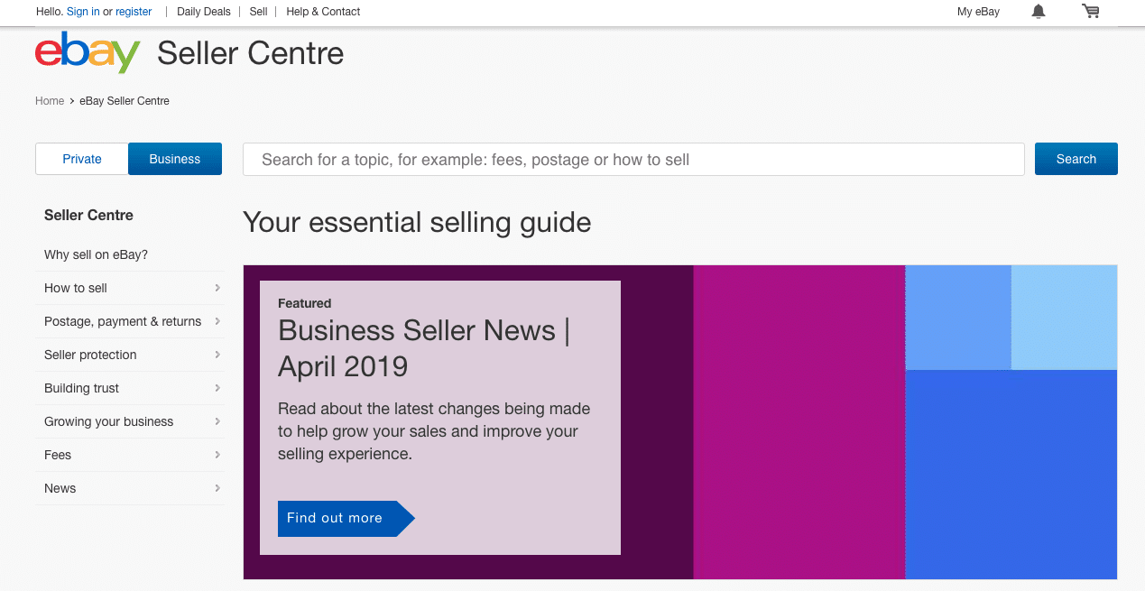 eBay Seller Centre