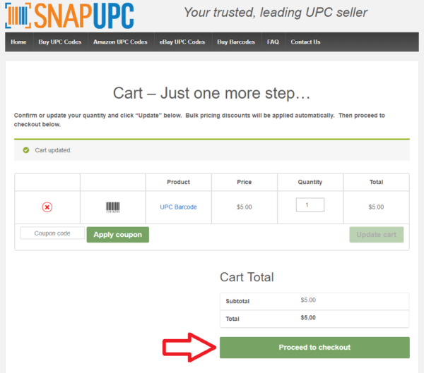 Choose Quantity in Snap UPC Shopping Cart