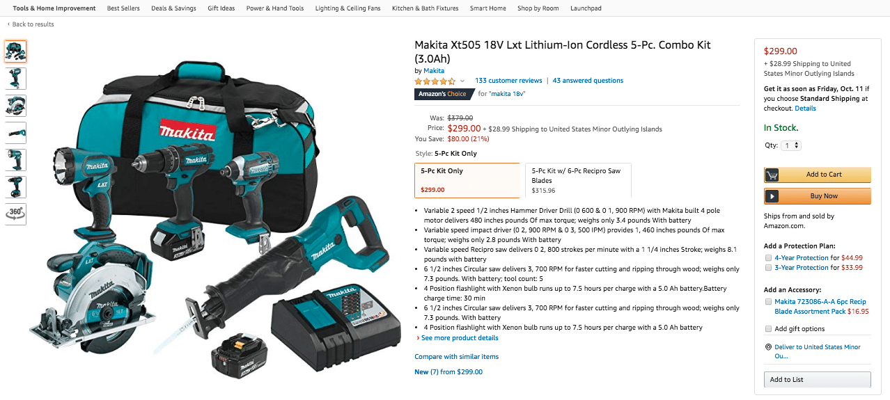 Makita Tool on Amazon