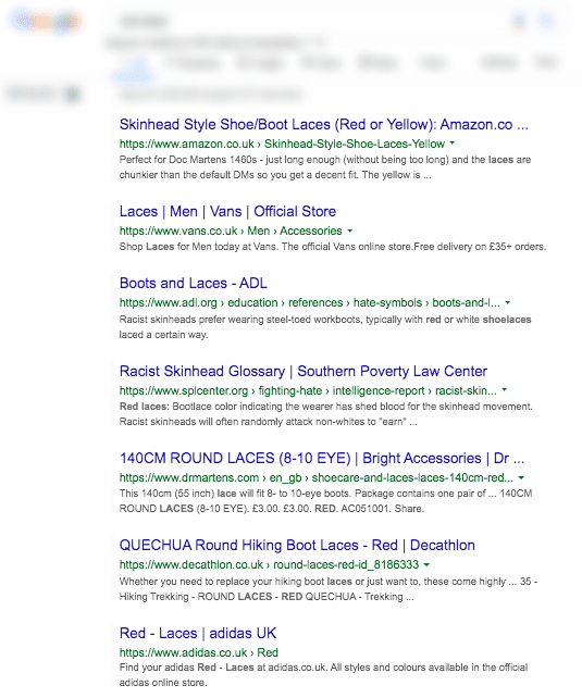 Search Results for Red Laces in Google Search